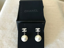 CHANEL Crystal Pearl CC Drop Earrings Silver