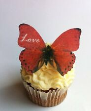 Edible Butterflies © -Red Love Set of 12 - Cake and Cupcake Toppers, Decoration