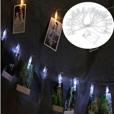 20 LED 2M Hanging Photo Clip Holder Fairy String Battery Wedding Party White New