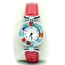 Murano Glass Watch Red Strap Silver Trim Quartz Millefiori Venice Art
