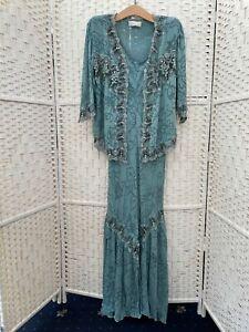 Ann Balon blue long linen dress & jacket special occ mother of bride size 14-16