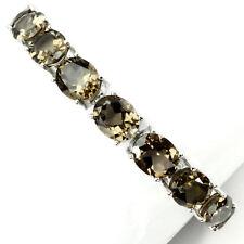 925 Sterling Silber Armband, Weißgold beschichtet, Natural 11 x 9 mm. Rauchquarz