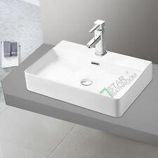 Bathroom Rectangular wash basin vanity White 600X420X120mm w/Faucet hole NEW