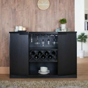 Black Wooden Buffet Server Dry Bar Liquor Cabinet Wine Rack 7 Bottle Storage