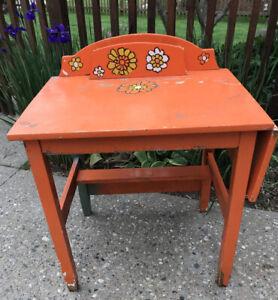 VTG MCM Childs Kids Small Painted Wood Desk Chair Desk Top Retro ORANGE Floral