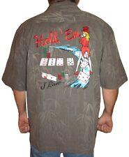 J Rowe Men's Embroidered Silk Shirt-Texas Hold Em Hawaiian Shirt Charcoal Small