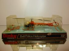 DINKY TOYS 732 BELL POLICE HELICOPTER - ORANGE - RARE - GOOD CONDITION IN BOX