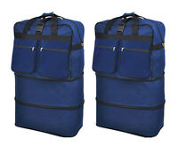 """Pack of 2, 40"""" Navy Wheeled Duffel Bags Large Rolling Spinner Suitcase Luggage"""