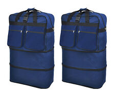 "Pack of 2, 40"" Navy Wheeled Duffel Bags Large Rolling Spinner Suitcase Luggage"