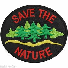 Save the Nature Energy Tree Water Love Earth World Black Iron on Patch Bag #1298