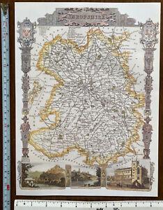 Old Antique Victorian map Shropshire, England: c1830's: Moule: Reprint 1800s