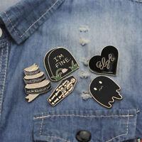 5PCS/Set Punk Coffin Tombstone Brooch Pin Shirt Collar Lapel Corsage Pin WH