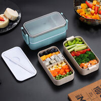HOT Microwave Lunch Box Wheat Straw Food Storage Container Portable Bento Box