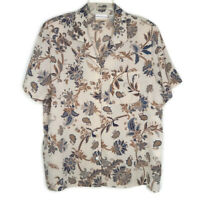 Alfred Dunner Womens Size 16W Blouse Button Front Short Sleeve Brown Floral
