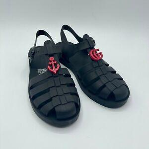 Gucci Kids Black Rubber Sandal w/GG And Anchor Logo EU 33/US 2 500887 1000