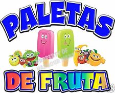 "Paletas Popsicles Fruit Concession Cart Food Truck Van Decal 14"" Vinyl Menu"