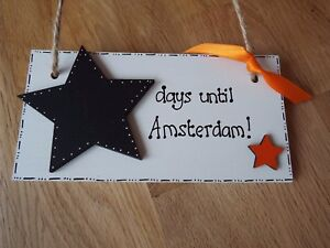 Amsterdam holiday countdown sign Chalkboard wood sign fun gift Best friend gift