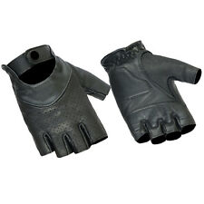 Womens Perforated Fingerless Gel Palm Genuine Leather Motorcycle Riding Gloves