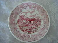 Collectible Vintage SWISS LANDSCAPE Red/Pink &White Scenic Plate - Made in Italy