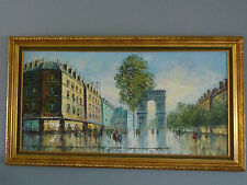 """french scene original oil painting on canvas gorgeous by rivira 30 x 54 """"rare"""""""