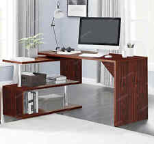 More details for large l-shaped computer desk with shelves study pc table workstation home office