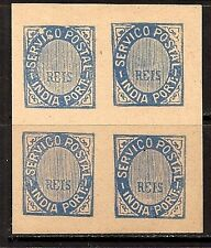 INDIA PORTUGAL 1877 TRAIL PROF IMPERF BLOCK OF 4 MNH NG