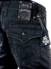"$220 Mens Rock Revival Jeans ""Anthony"" Jet Black Straight Leg 32 X 32"