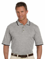 Harriton Men's Short Sleeve 100% Cotton Three Button Placket Polo Shirt. M210