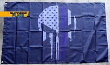 Punisher Thin Blue Line Flag (3x5 ft) Banner Police Support