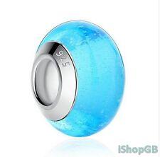 925 Sterling Silver Luminous Murano Glass Bead Charm Fitted European Bracelet