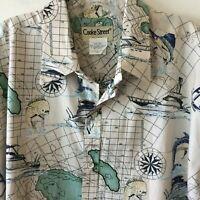 Cooke Street Reverse Print Nautical Deep Sea Fishing Camp Shirt Men's XL NWOT