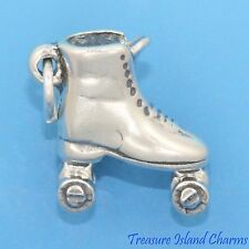 CLASSIC ROLLER SKATE SKATING 3D .925 Solid Sterling Silver Charm Pendant