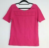 Jacqui E Women's Pink Short Sleeve T-Shirt Cut Out Detail Size M