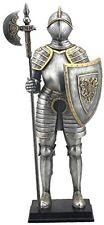 "13.5"" Armored Medieval Knight w/ Polleaxe Statue Battle Warrior Sculpture"