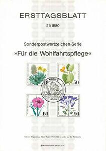 Germany ETB Ersttagsblatt 21/1980 Fur die Wohlfahrtspflege Flowers BONN 1