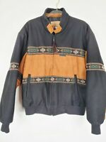 Cripple Creek Circle S Mens Medium Aztec Black Brown Wool Suede Jacket Coat