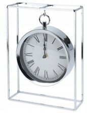 Modern Silver Mantlepiece Clock 25cm Tall Hanging Clock Office Desk Clock