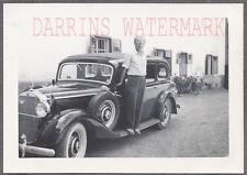 Vintage Car Photo Man w/ 1937 1941 Mercedes Benz 230 Automobile 701894