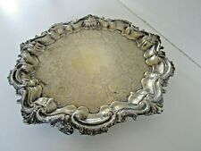 More details for silver plated salver, tray, barker brothers, circa 1900, needs replating