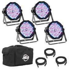 American DJ Mega Flat Pak Plus 4x LED Lighting Pars + DMX Cables + Soft Bag
