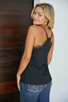 lime flare Women Sexy V Neck Lace Trim Satin Silky Cami Tank Tops, Black, Size