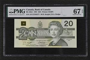 1991 Canada Bank of Canada BC-58d-i 20 Dollars PMG 67 EPQ Superb Gem UNC