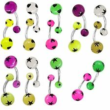 BELLY RING 18pcs 14G Glow In Dark Stars Stainless Steel Barbell Body Jewelry