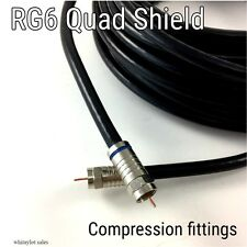 Quad Shield Rg6 Coax 50ft 3ghz HdTv Catv Black Satellite 18 Awg 75 Ohm F connect