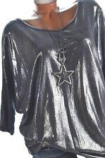 ITALY  Long Shirt Fledermaus Pulli Feinstrick Metallic Dunkelblau 40 42 44 NEU