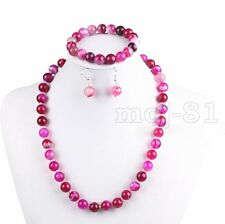 Natural 10mm Fuchsia Stripe Agate Round Beads Necklace Bracelet Earrings Set AAA