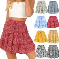 Women's Summer Floral Ruffle Tiered Skirt High Waist Drawstring Beach Mini Dress