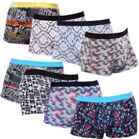 Men Boxers Underwear Shorts Breathable Printed Viscose Mid Waist U Convex XL-4XL