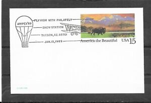 1988 US Postal Card #UX120 ARIPEX'89 Show Station, Tucson, AZ Event Cover