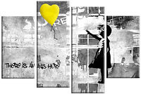 "BANKSY YELLOW GREY CANVAS GIRL WITH BALLOON WALL ART 4 PANEL PICTURE 40""x 27"""